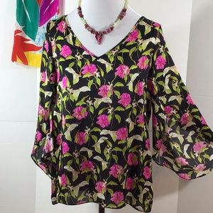 Milly silk calla lily tulip sleeve top 12